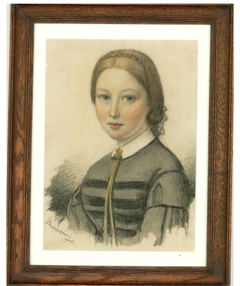 George Morosini (d.1882) - Mid 19th Century Chalk Pastel Drawing, Young Woman