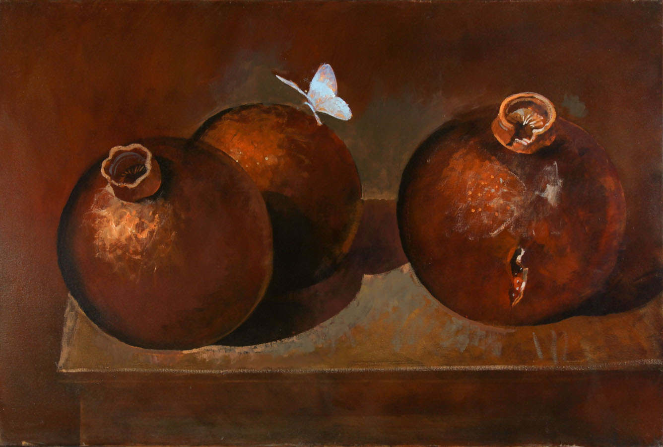 Julian Gordon Mitchell - Large Contemporary Oil, Pomegranates and Butterfly