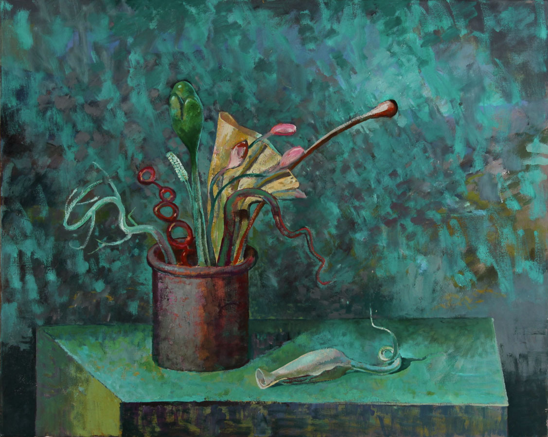Julian Gordon Mitchell - Contemporary Oil, Still Life with Surreal Flowers