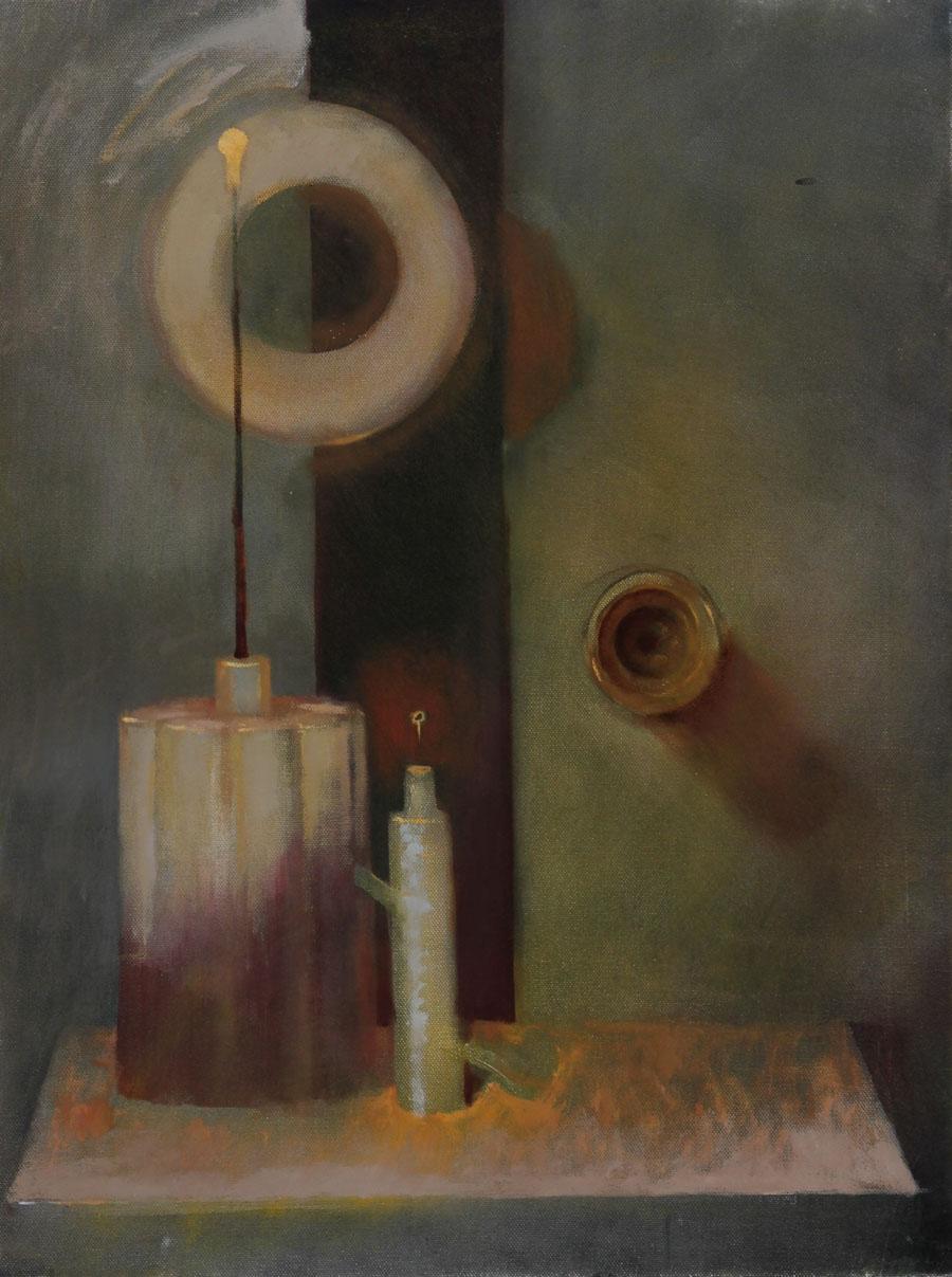 Julian Gordon Mitchell - Contemporary Oil, Surrealist Still Life with Vases