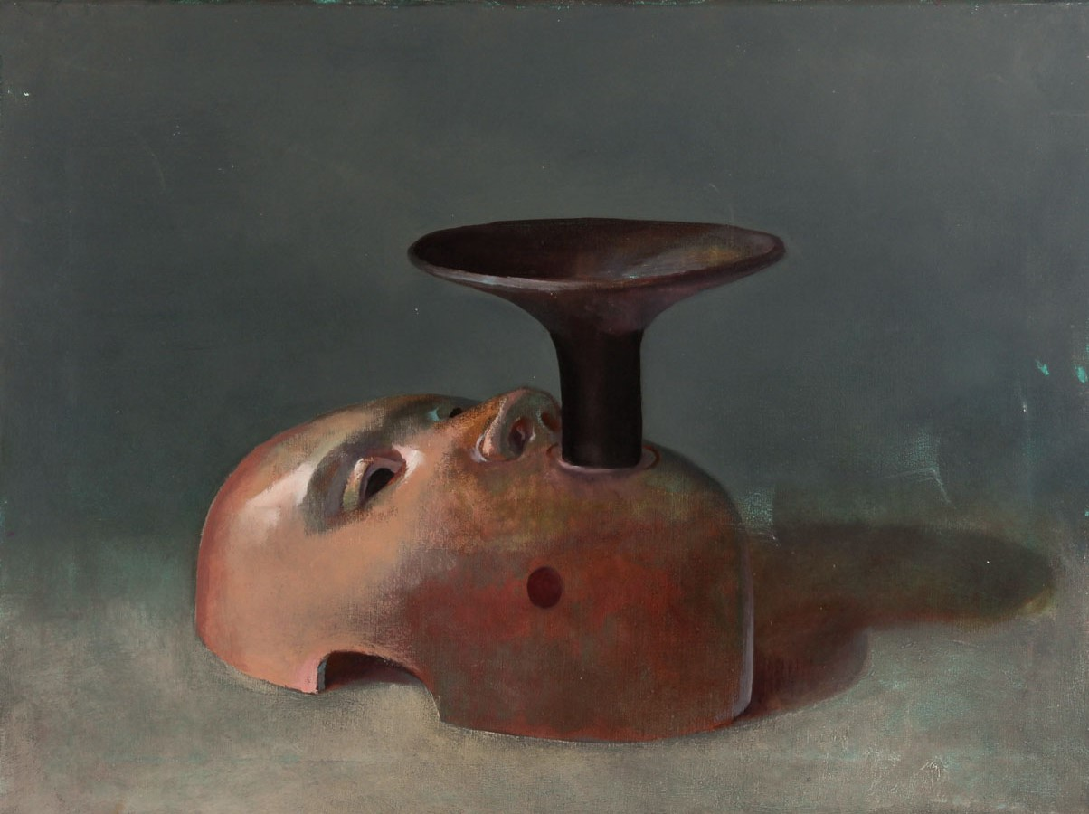 Julian Gordon Mitchell - Contemporary Oil, Surreal Still Life with Mask