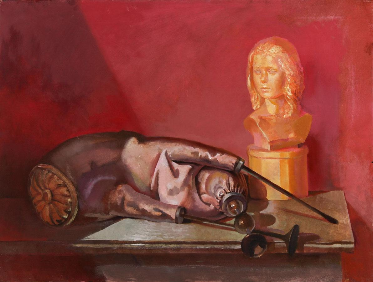 Julian Gordon Mitchell - Contemporary Oil, Still Life with Bust