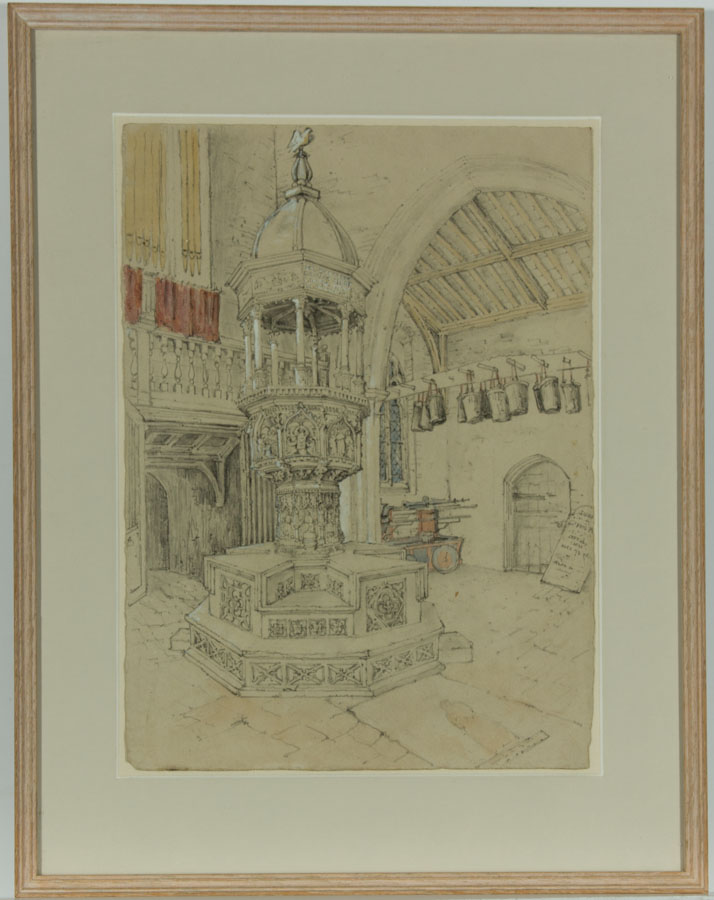Fine 19th Century Graphite Drawing - Church Interior with Font