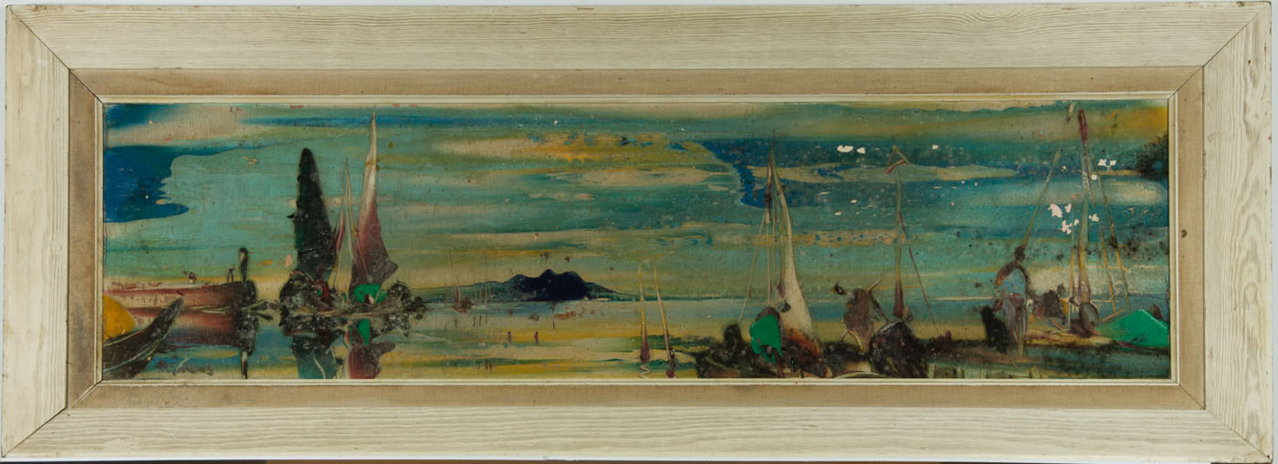 Pair Mid 20th Century Oil Paintings for Restoration - Seascapes