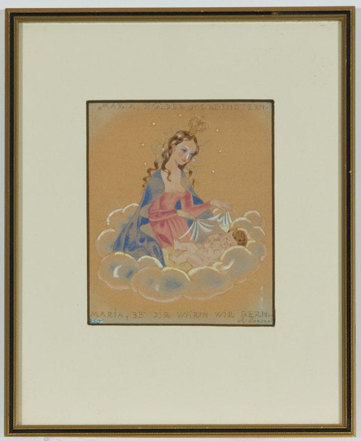 M. Soeser - Gilt Framed 1950 Mixed Media, Maria & Baby