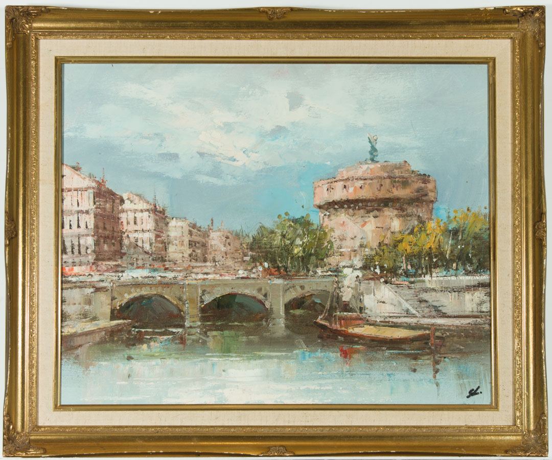 Well Framed Contemporary Acrylic - View Towards Castel Sant'Angelo, Rome