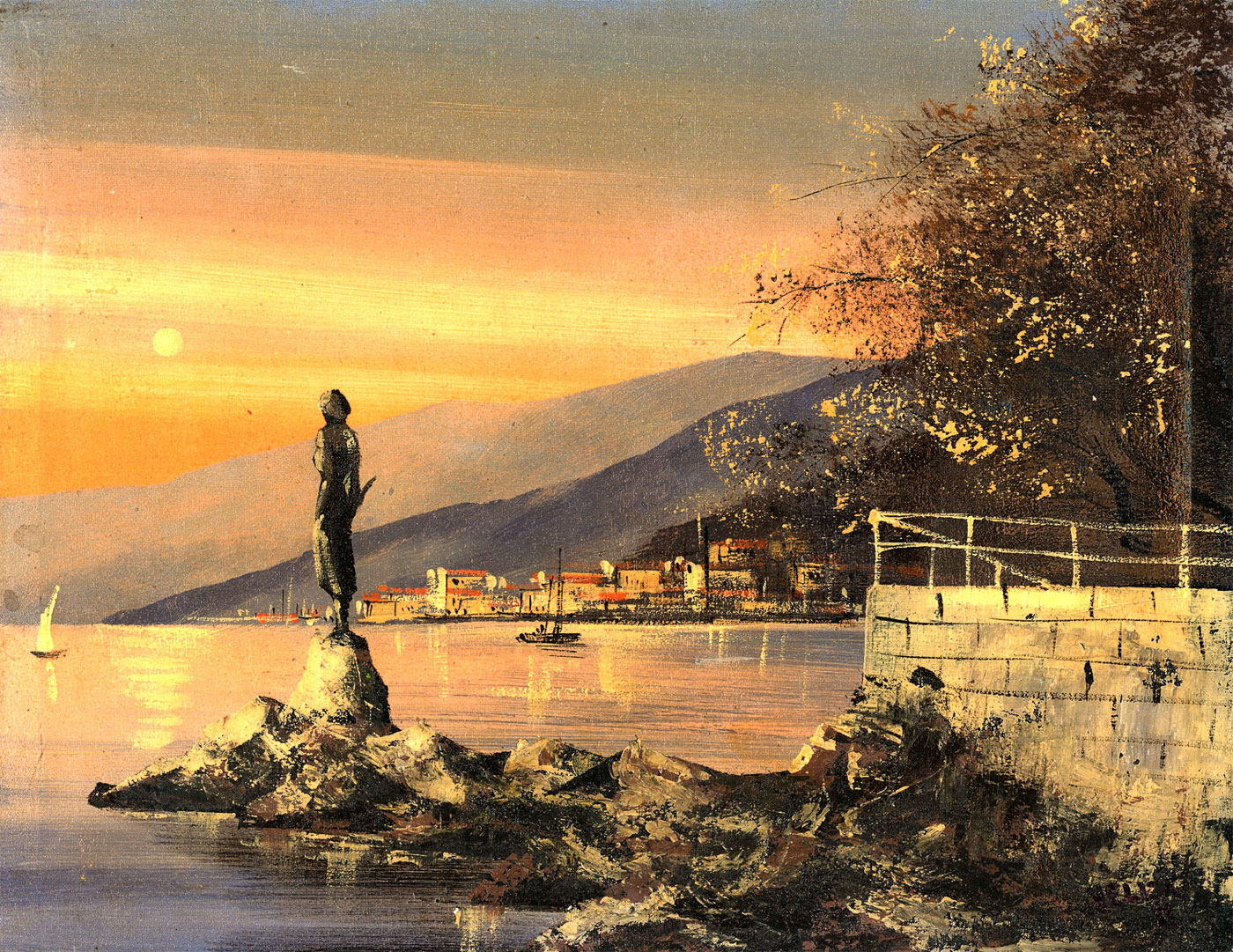 Vellza - Signed 1988 Acrylic, City in the Distance