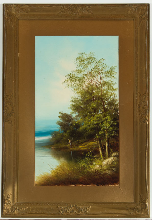 Gilt Framed Early 20th Century Oil - Figure by a River