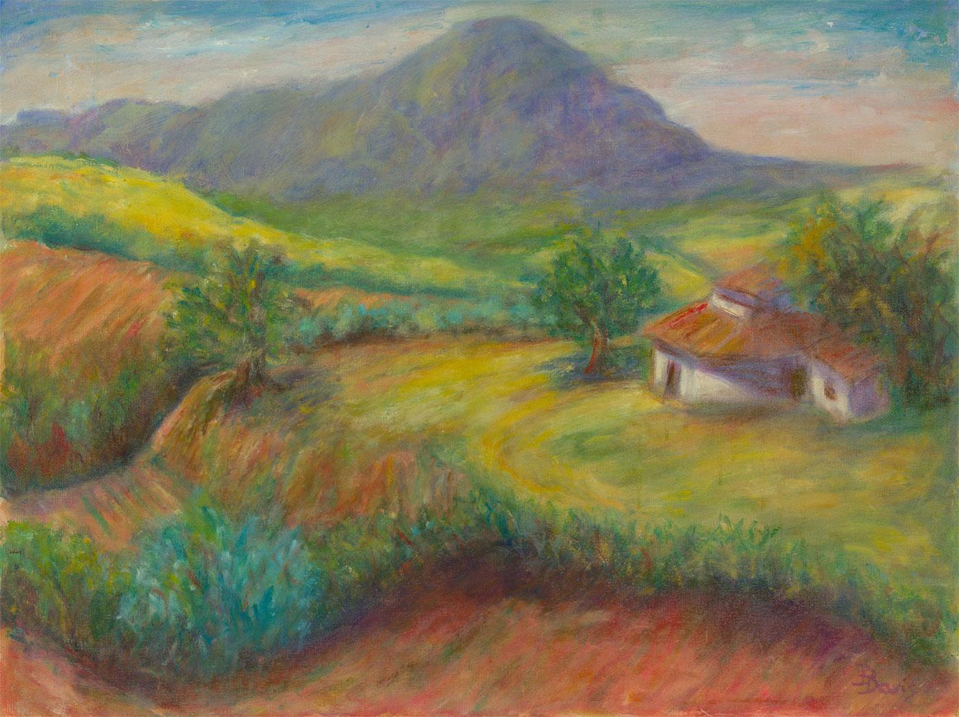 D.Davis - Signed Contemporary Oil, House in a Mountainous Landscape