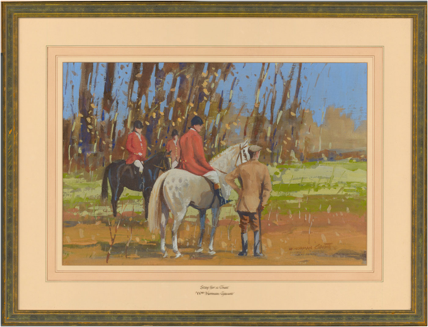 William Norman Gaunt (1918-2001) - Signed and Framed Gouache, Hunting Party