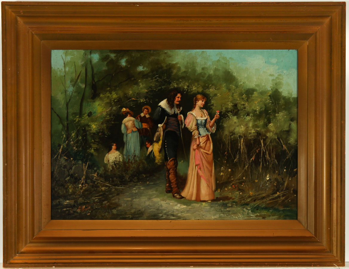 A Romantic 20th Century Oil - Classical Scene with a Cavalier in a Garden