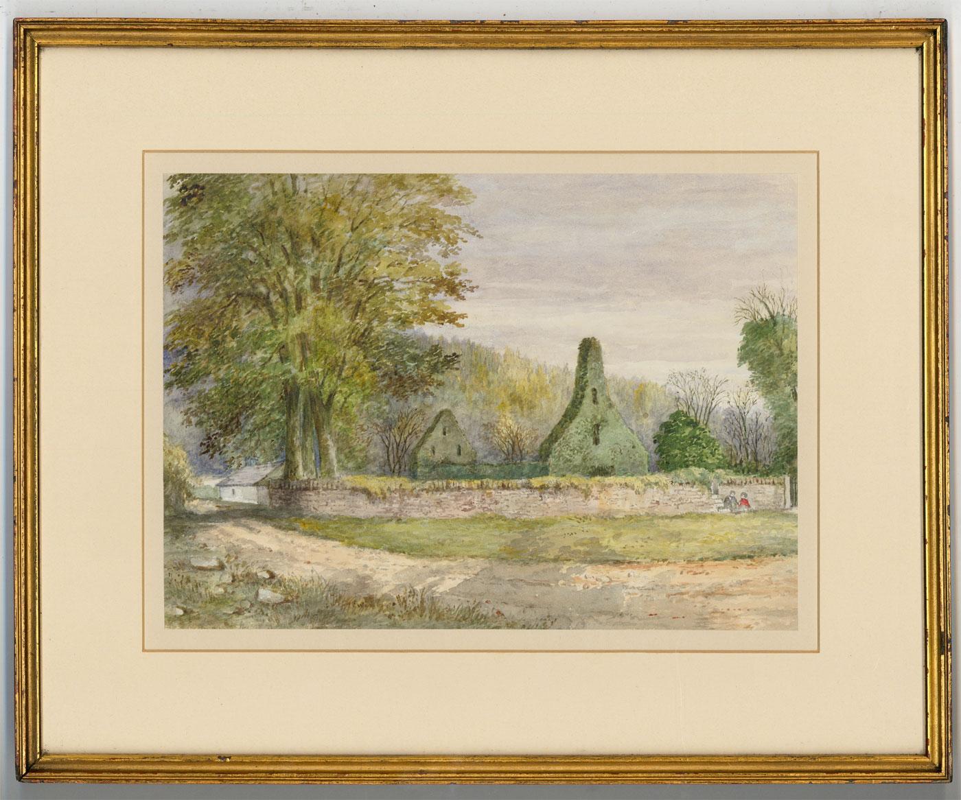 Harriet Drummond (fl.1857-73) - Watercolour, Ruins of Rutherford Church
