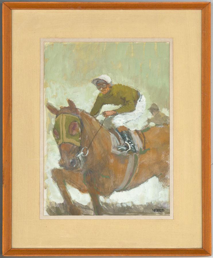 Ward - Signed and Framed 20th Century Gouache, Jockey