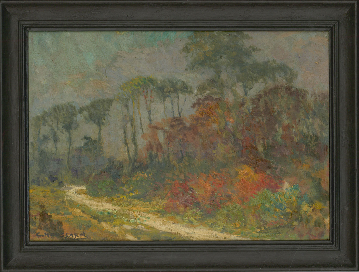 Charles Houssard (1884-1958) - Signed and Framed Oil, Woodland Path in Autumn