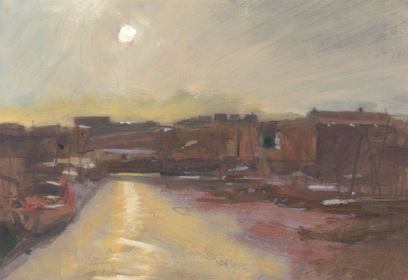Richard J.S. Young - 1995 Oil, Bristol Docks, Sunset