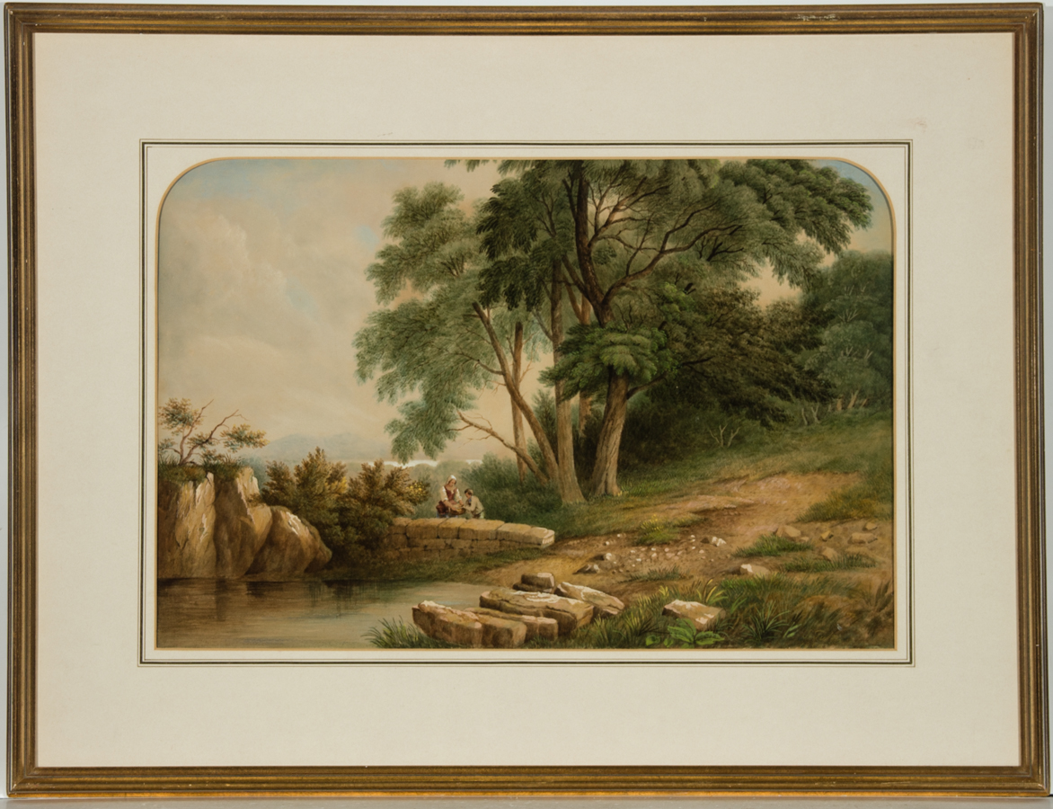 J.W. Tuton - Framed 1856 Watercolour, Landscape with Figures Beside a Pond