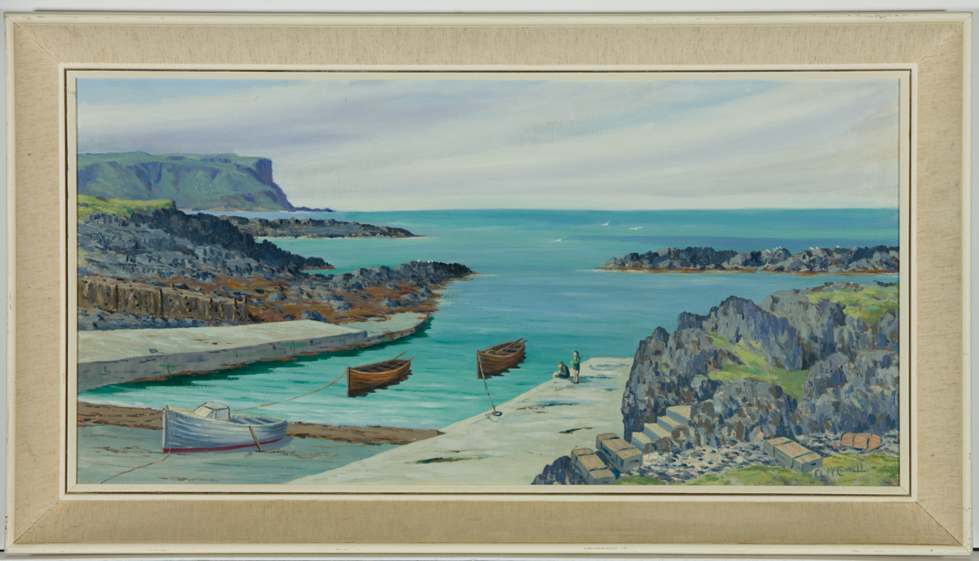 F.L. McConnell - 20th Century Oil, Harbour at Dunseverick, Antrim
