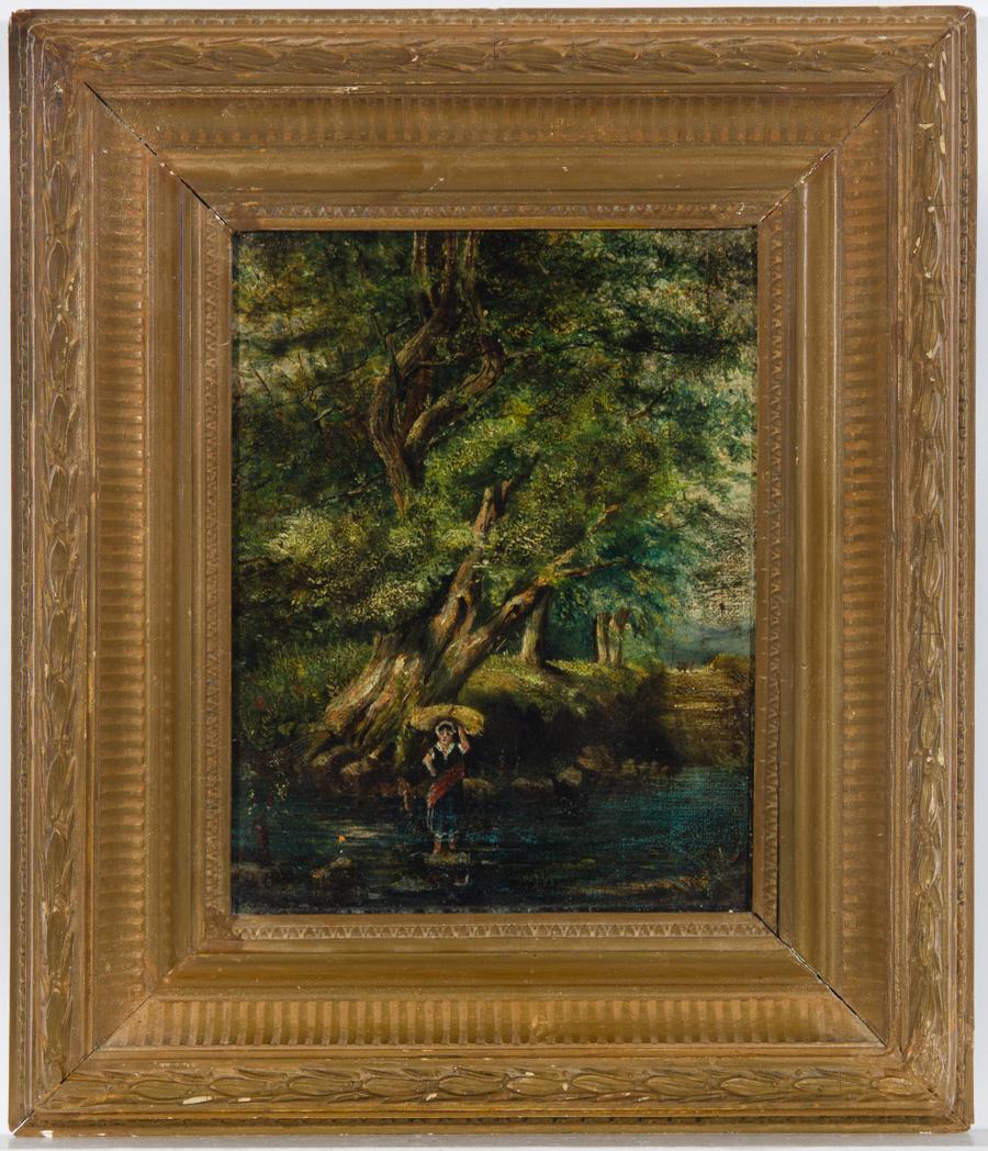 Atrrib. Herbert Gibbs (1852-1940) - Framed Oil, Figure in a River Landscape