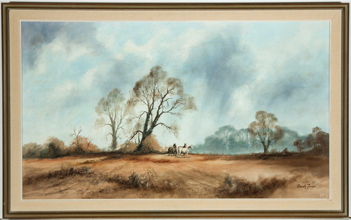 Derek Jones - Signed c. 1978 Oil, Horses in a Barren Autumn Landscape