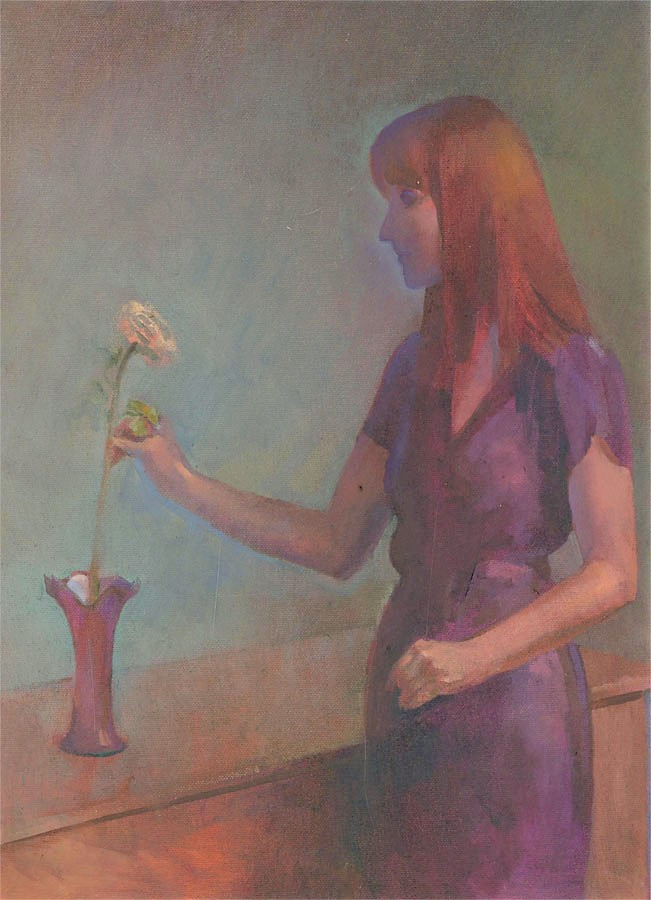 Julian Gordon Mitchell (b. 1968) - 20th Century Oil, Lady with Flower