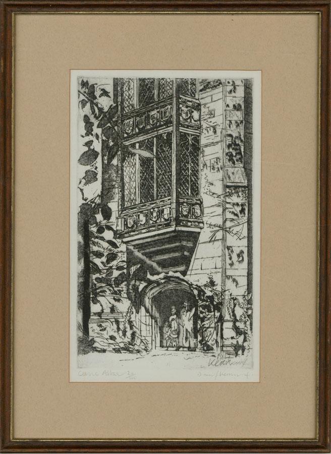 David Risk Kennard (b.1953) - 1984 Etching, Abbot's Porch, Cerne Abbey