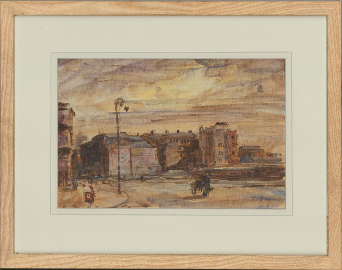 Ronald Olley (b.1923) - c. 2000 Acrylic, Street Scene with Figures