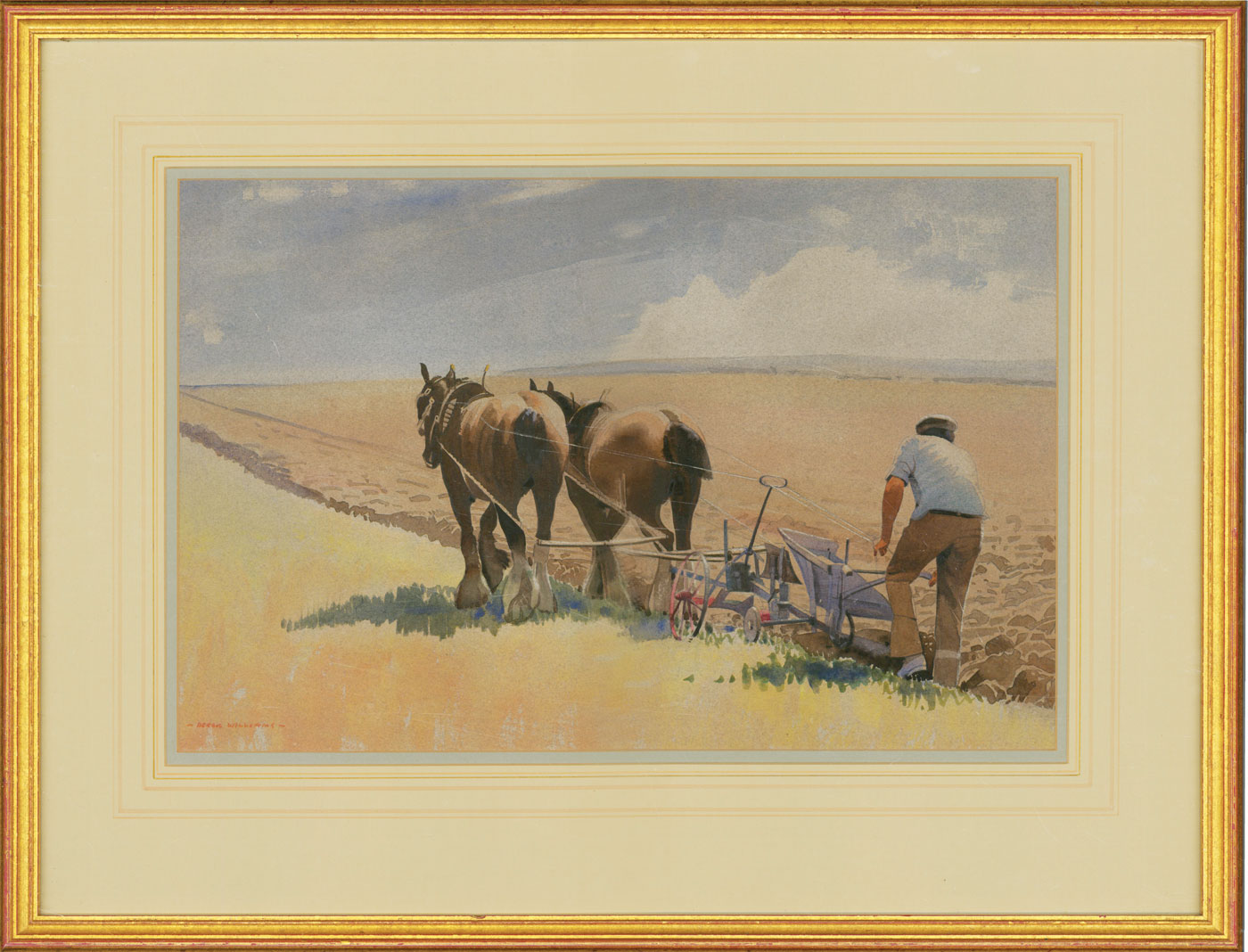 Derek Williams RBSA FRSA (1932-2009) - Signed Watercolour, Ploughing Top Field