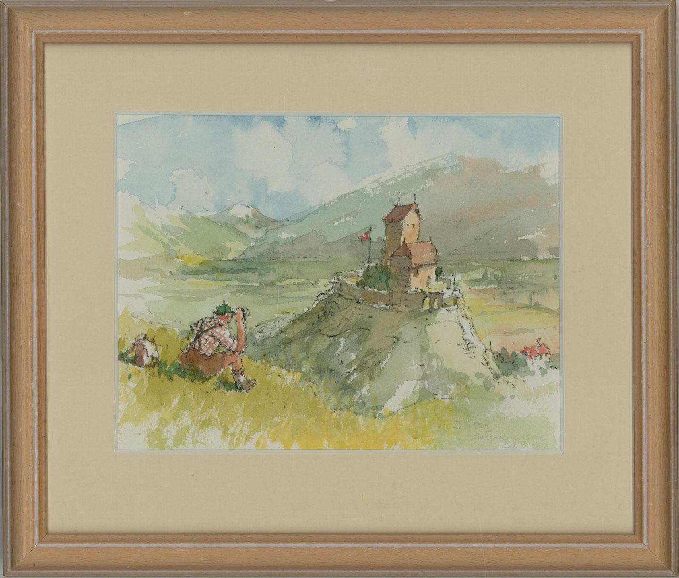 Bernard Philip Batchelor RWS - Mid 20C Watercolour, Sargans Castle, Switzerland