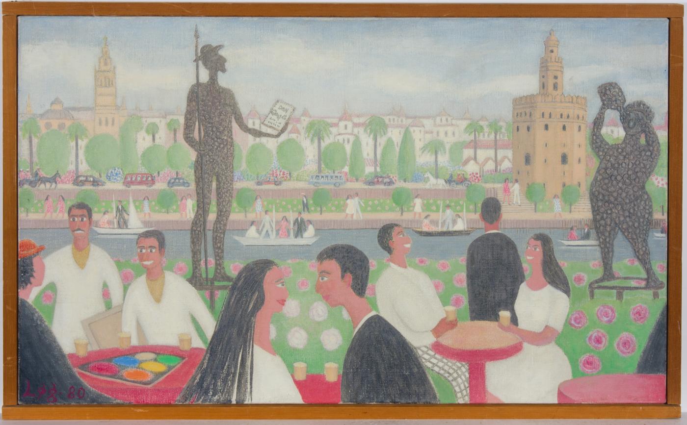 Anni Logstrup Danish (b.1912) - 1980 Acrylic, Cafe El Puerto Seville