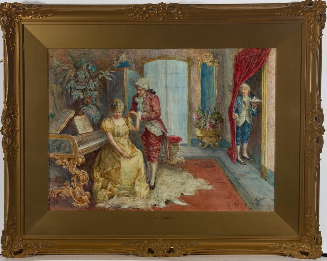 C. De Filippi  - Early 20th Century Watercolour, The Lover's Encounter