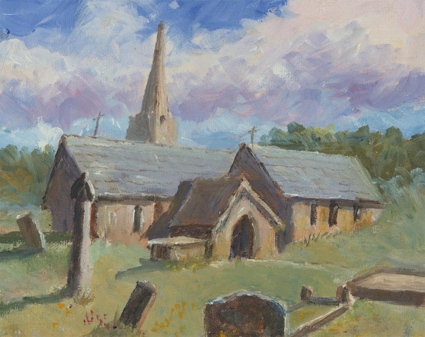 John A. Case - 20th Century Acrylic, Country Church