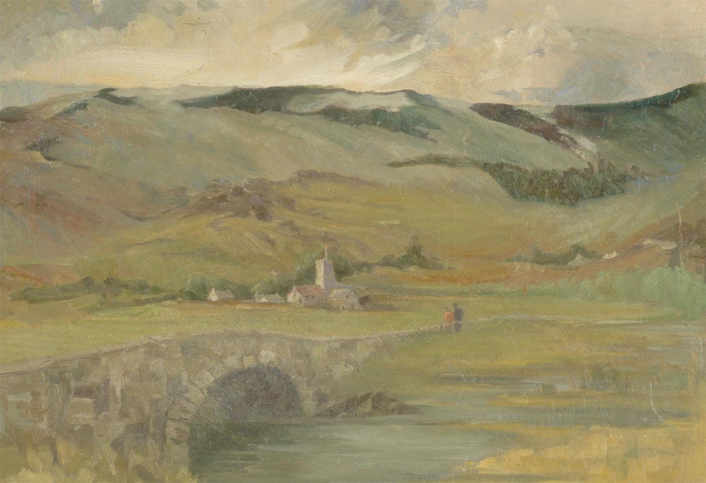 Julia Hirst - Fine 20th Century Oil, Moorland Village