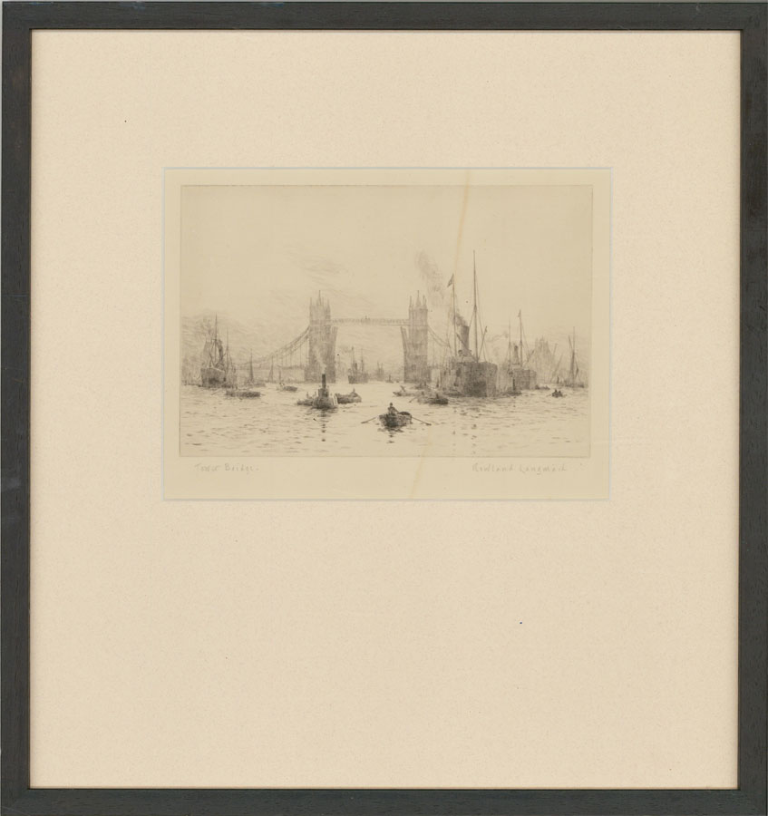 Rowland Langmaid RA (1897-1956) - Signed & Framed Original Etching, Tower Bridge