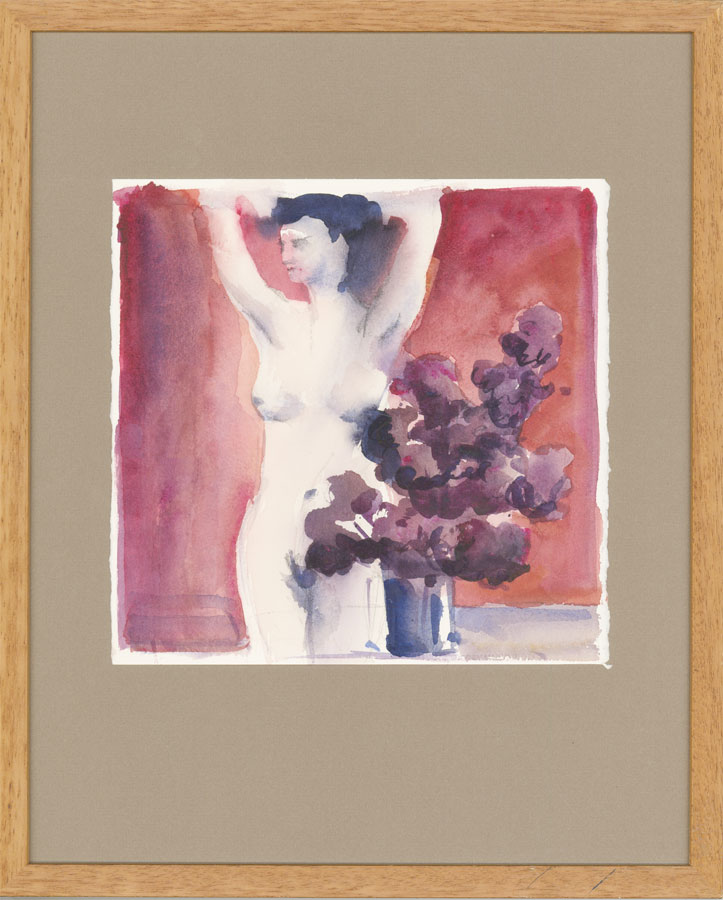Framed 20th Century Watercolour - Nude with Plant