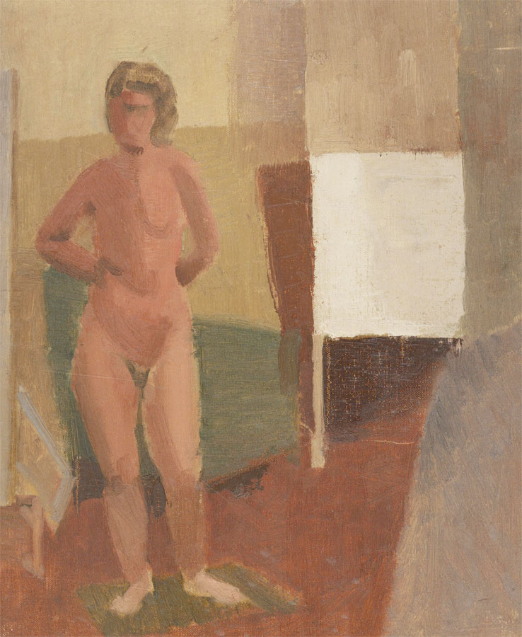 Mid 20th Century Oil - Standing Nude with Squares