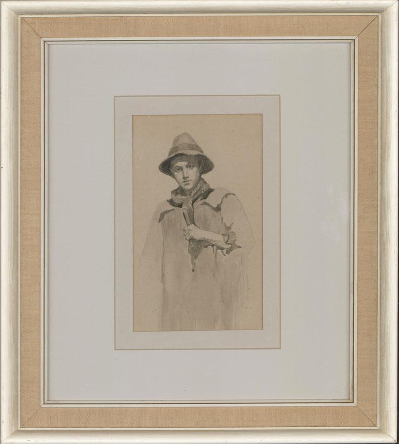 Attrib. Agnes Travers Cazalet - 1913 Watercolour, Portrait of a Insecure Man