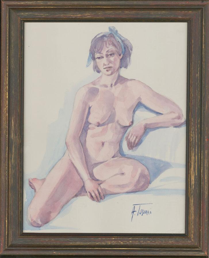 Adriana Toscani - Framed Contemporary Watercolour, Seated Female Nude
