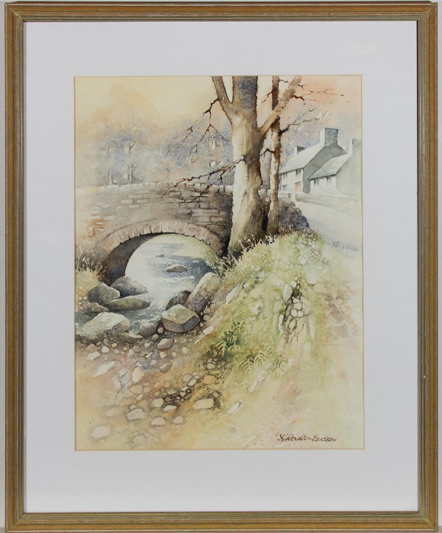 H. Royston Hudson - Framed 20th Century Watercolour, Village Scene with Bridge