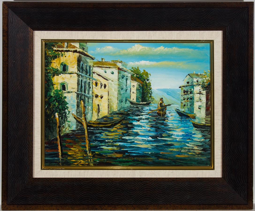 Framed Contemporary Acrylic - Venice, Figure on a Gondola