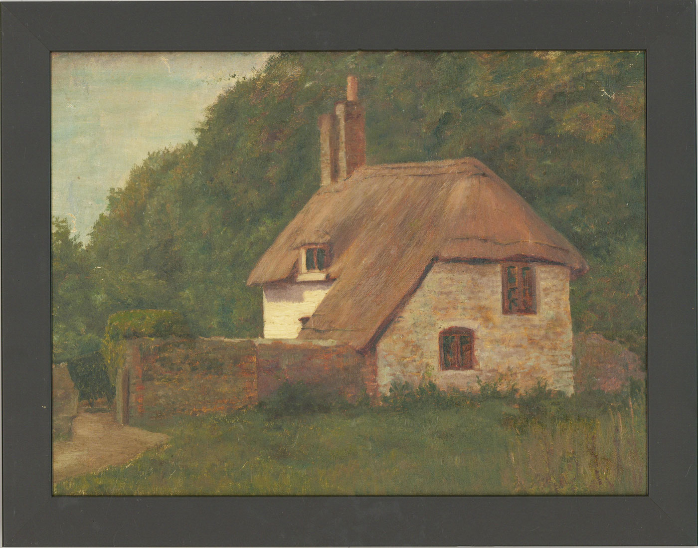 Framed 20th Century Oil - Cottage by the Woods