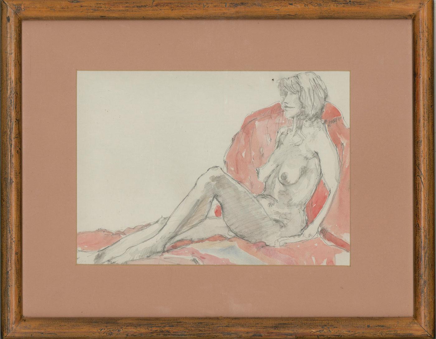 Framed 20th Century Watercolour - Seated Female Nude II