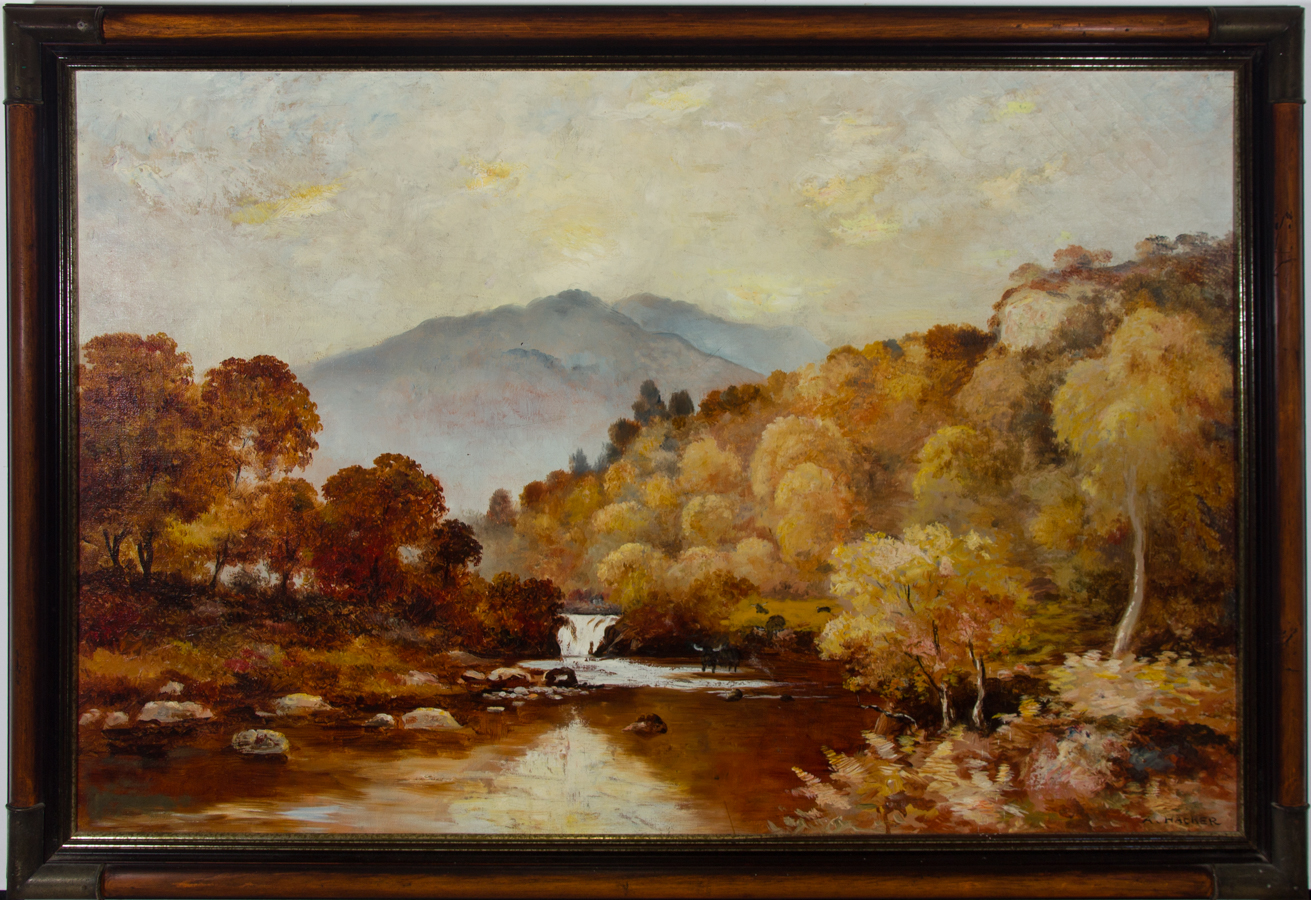 A. Hacker - Early 20th Century Oil, Autumnal River Scene