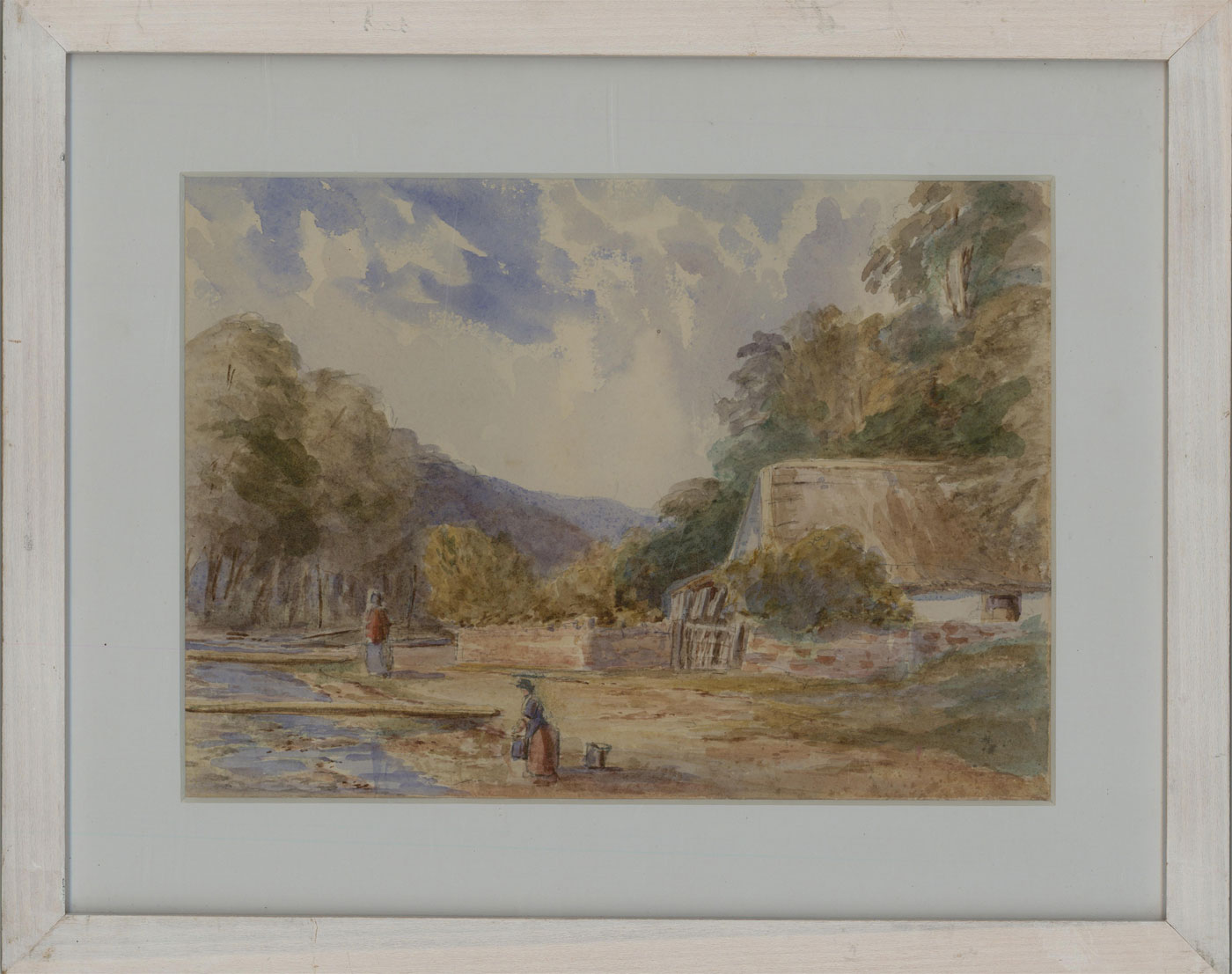 Fine Early 20th Century Watercolour - Figures by a Cottage