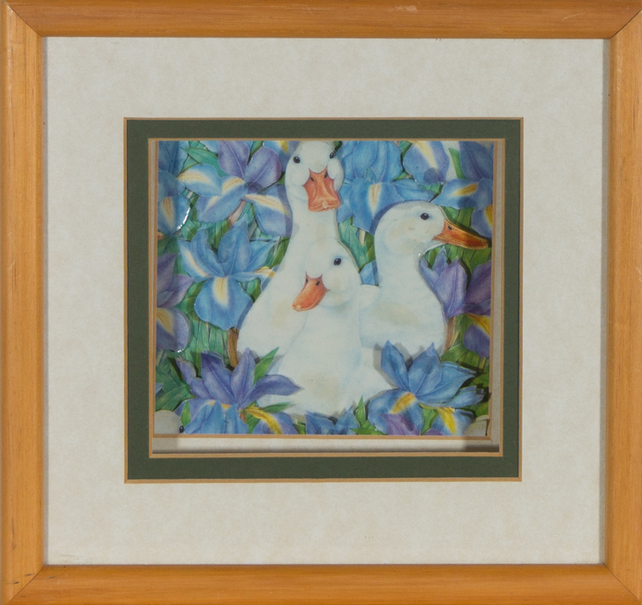 Framed 20th Century Collage - Three geese