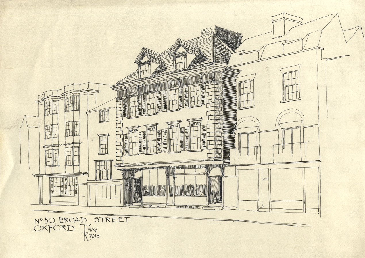 Thomas Rayson - 1913 Pen and Ink Drawing, No. 50 Broad Street, Oxford