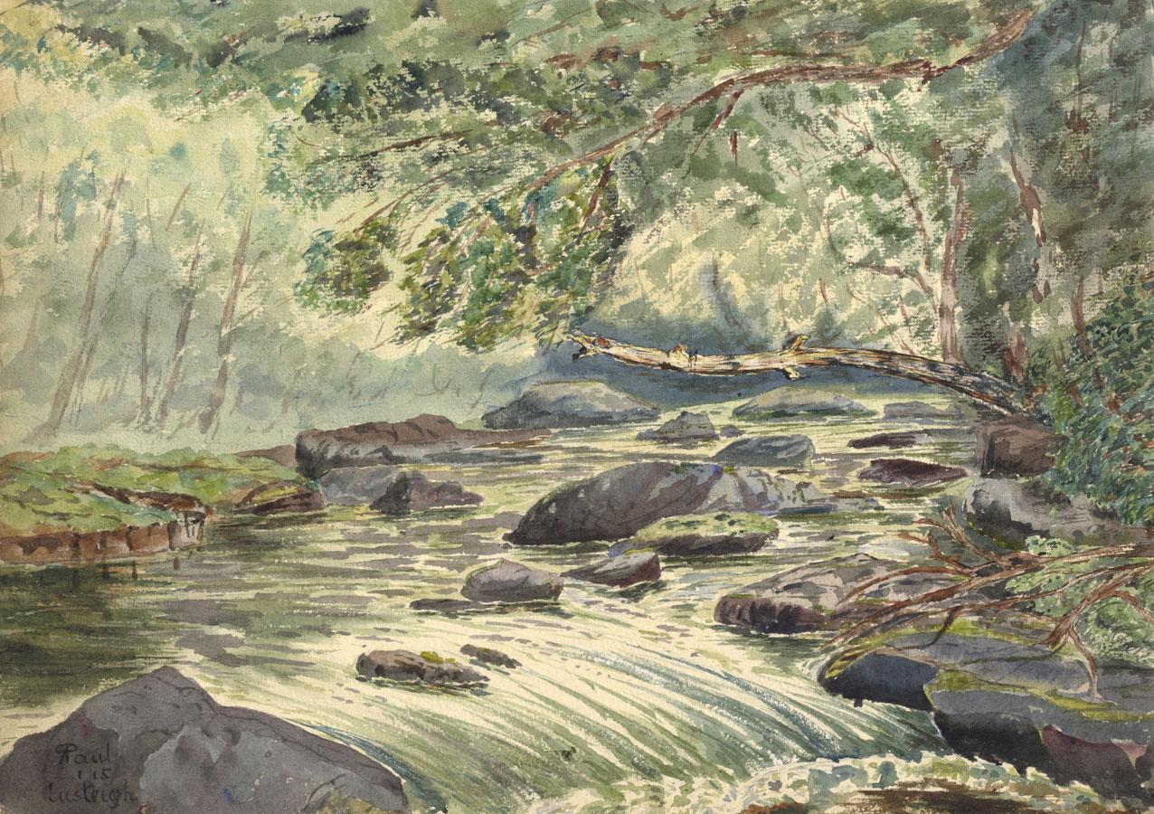 R. Paul - 1915 Watercolour, River, Lustleigh, Devon