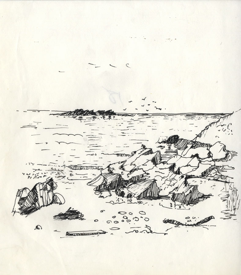 Frank S. Bowden - Mid 20th Century Pen and Ink Drawing, Beach Scene