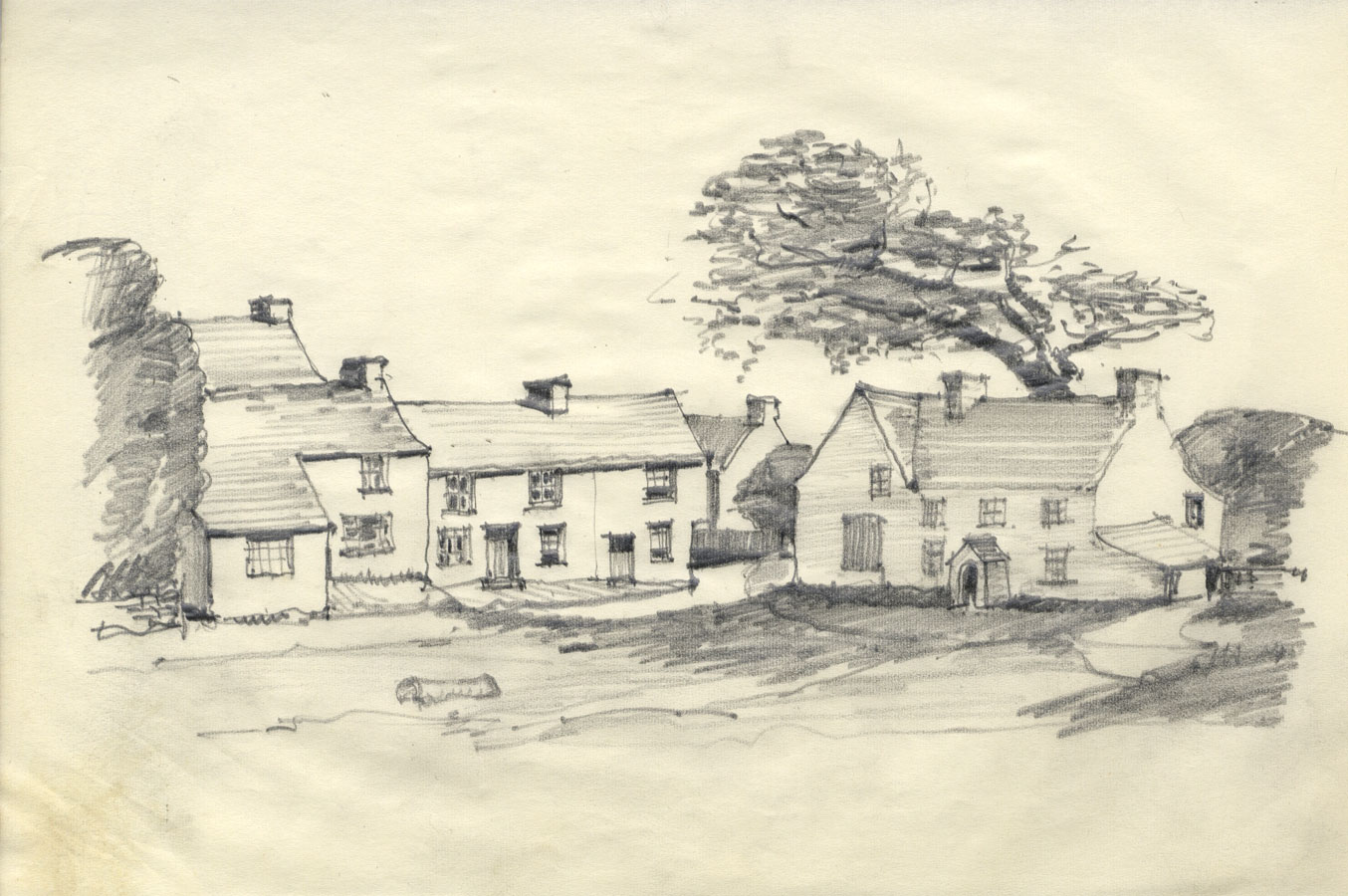 Frank S. Bowden - Early 20th Century Graphite Drawing, Houses