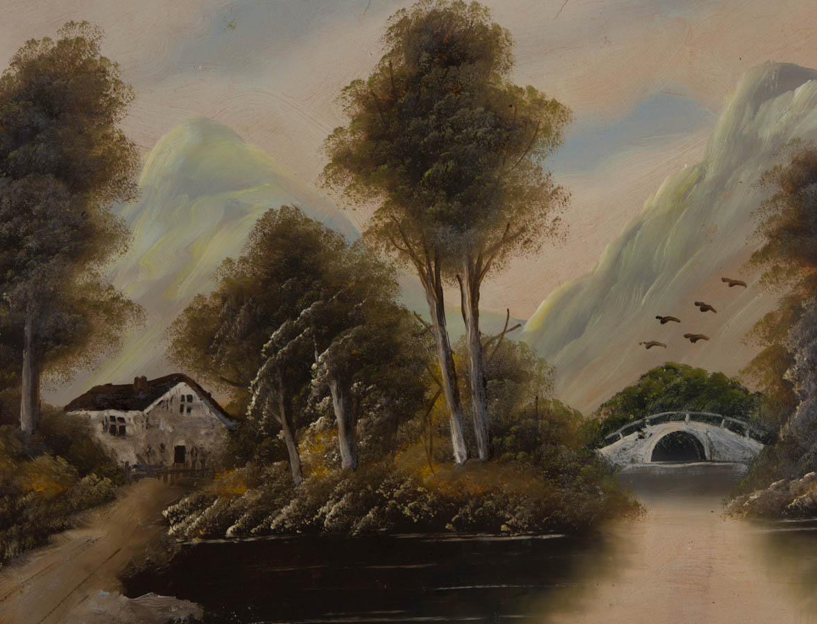 Mid 20th Century Oil - Mountainous Scene with Bridge over Water