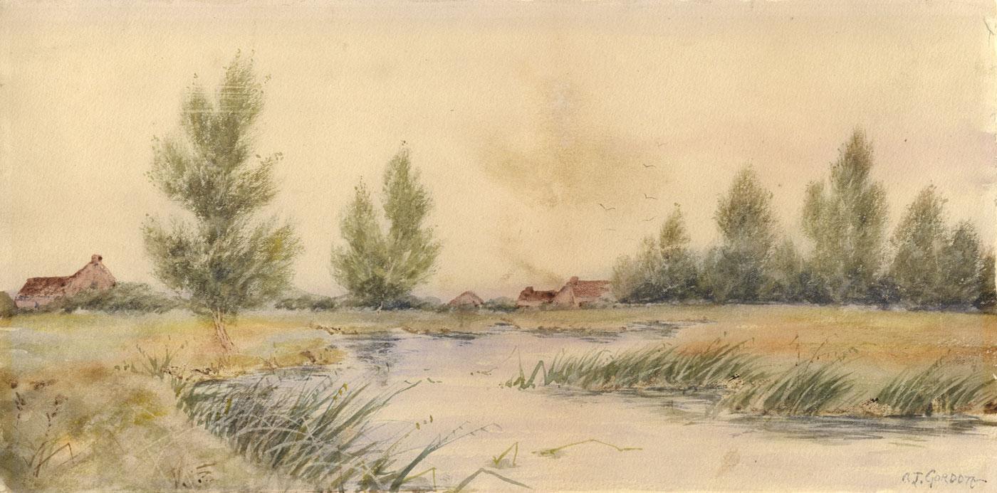 A.J. Gordon - Early 20th Century Watercolour, River Landscape